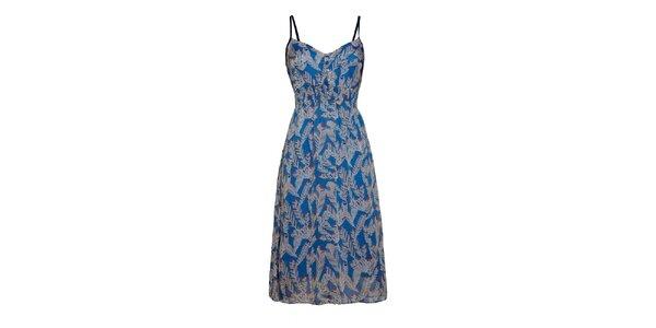 Dámske modré šaty s potlačou peria a čiernymi ramienkami Uttam Boutique