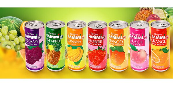 10 kusov ovocných nápojov SAMMI s kúskami ovocia