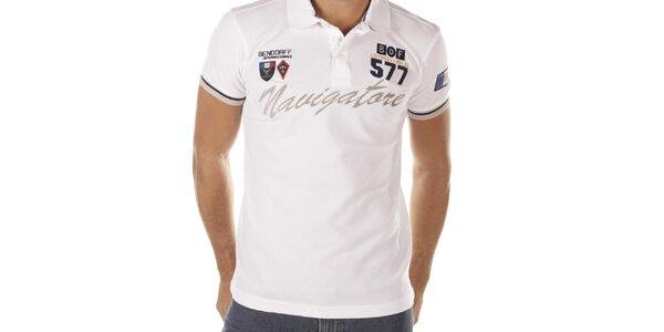 Pánske biele polo tričko s nápisom Bendorff