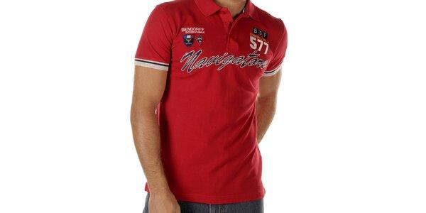 Pánske červené polo tričko s nápisom Bendorff