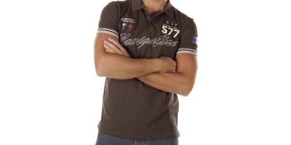 Pánske hnedé polo tričko s nápisom Bendorff