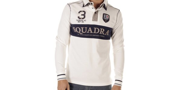 Pánske biele polo tričko s dlhými rukávmi Bendorff