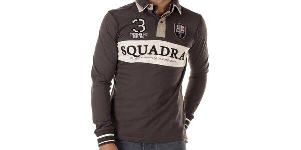 Pánske šedohnedé polo tričko s dlhými rukávmi Bendorff