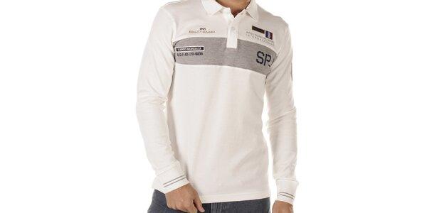 Pánske snehobiele polo tričko s dlhými rukávmi Bendorff