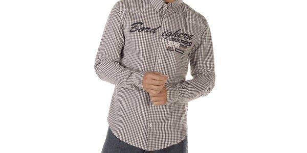 Pánska kockovaná košeľa s nápismi Bendorff