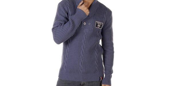 Pánsky modrý sveter s vrkočovým vzorom Bendorff
