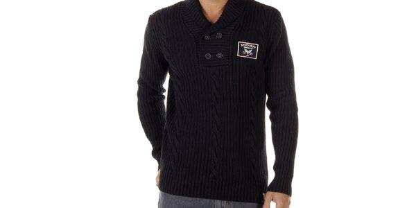 Pánsky čierny sveter s vrkočovým vzorom Bendorff