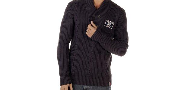 Pánsky hnedý sveter s vrkočovým vzorom Bendorff