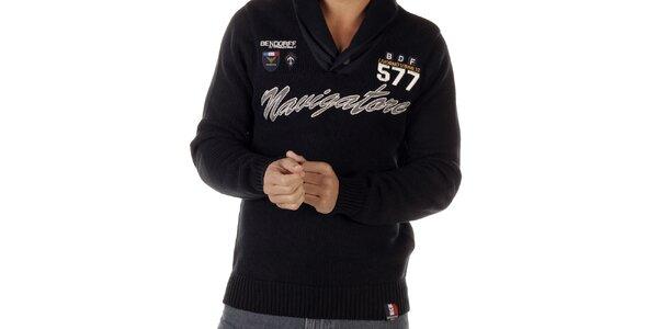 Pánsky čierny sveter s nápisom Bendorff