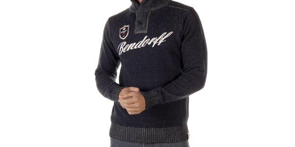 Pánsky tmavo šedý melírovaný sveter s nášivkou Bendorff