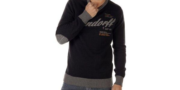 Pánsky sveter s nápismi a kontrastnými lemami Bendorff