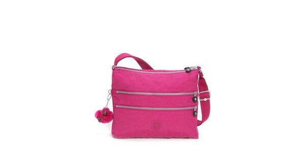 Dámska sýto ružová taštička Kipling s ozdobnými zipsami