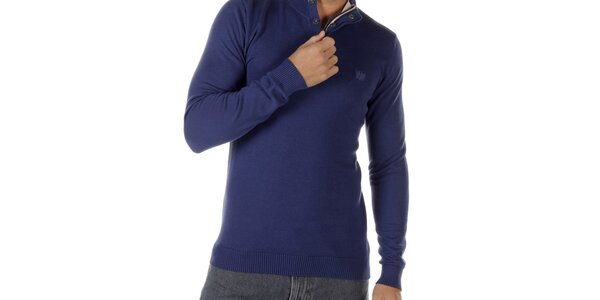 Pánsky modrý sveter so zipsom Bendorff