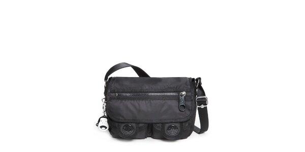Čierna šusťáková kabelka Kipling s vreckami