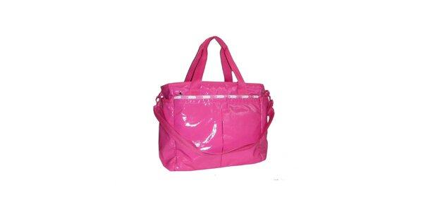Dámska lakovaná ružová kabelka LeSportsac