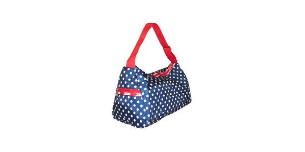 Dámska tmavo modrá bodkovaná kabelka LeSportsac s červeným lemom