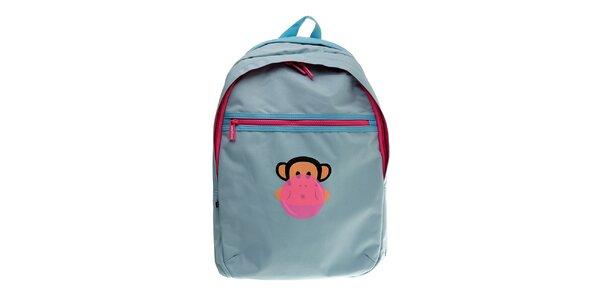 Svetlo modrý batoh Paul Frank s ružovými zipy