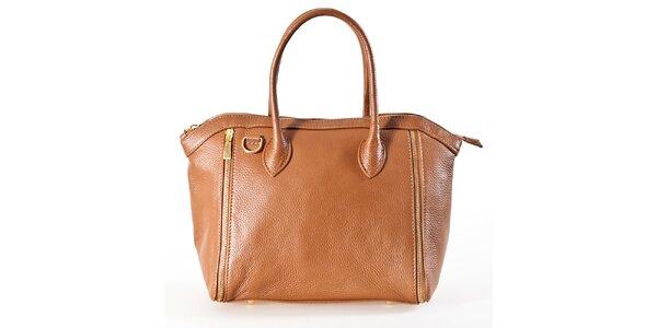 Dámska koňaková kabelka so zipsami Luisa Vannini