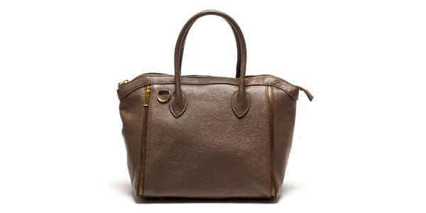 Dámska hnedá kabelka so zipsami Luisa Vannini