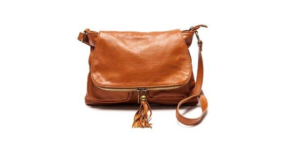 Dámska kožená kabelka cez rameno vo farbe koňaku Luisa Vannini