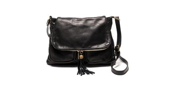 Dámska kožená kabelka cez rameno v čiernej farbe Luisa Vannini