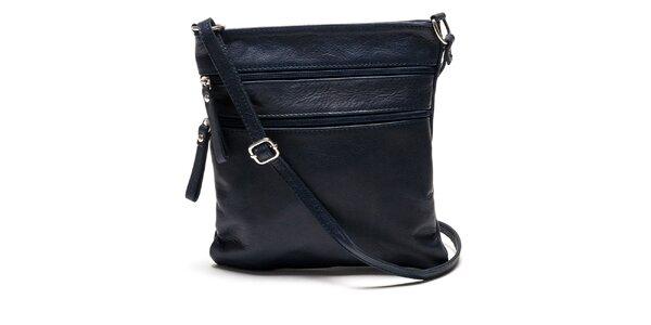 Dámska tmavo modrá kožená kabelka Luisa Vannini