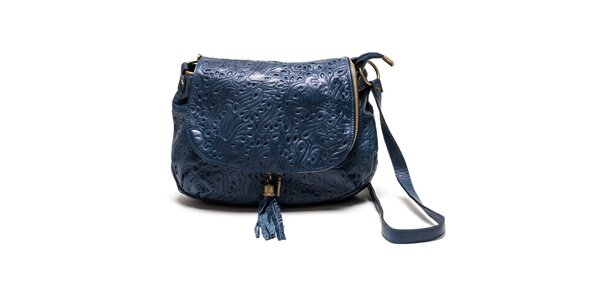 Dámska modrá kožená kabelka so vzorom Luisa Vannini