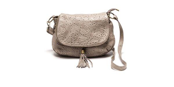 Dámska svetlá kožená kabelka so vzorom Luisa Vannini