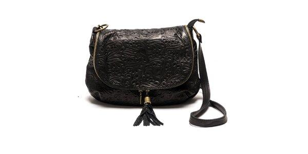 Dámska čierna kožená kabelka so vzorom Luisa Vannini