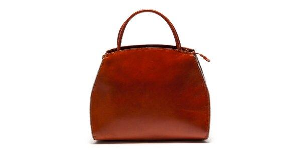 Dámska koňaková kabelka so zipsovým lemovaním Luisa Vannini