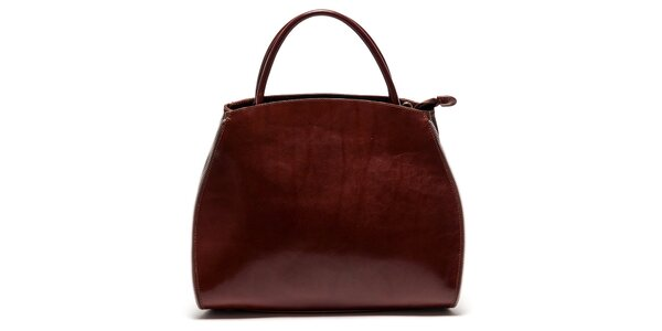 Dámska hnedá kabelka so zipsovým lemovaním Luisa Vannini