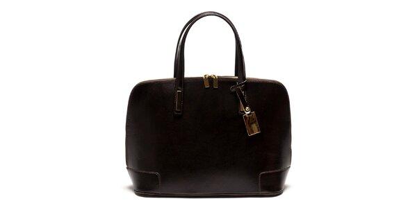 Dámska kožená kabelka v tmavo hnedej farbe Luisa Vannini