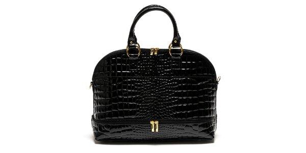 Dámska čierna kožená kabelka s motívom hadej kože Luisa Vannini