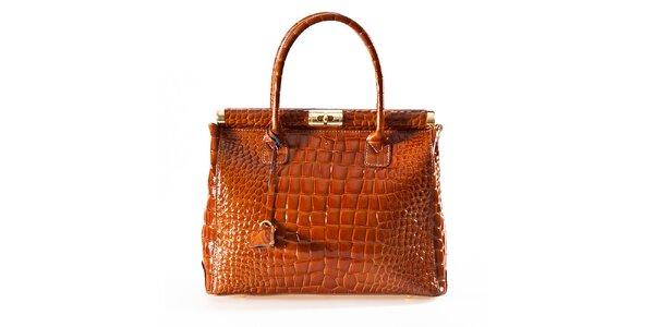 Dámska koňaková kabelka so zámčekom Luisa Vannini