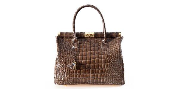 Dámska hnedá kabelka so zámčekom Luisa Vannini