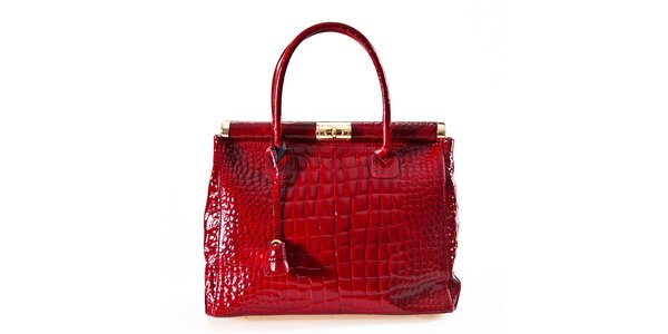 Dámska červená kabelka so zámčekom Luisa Vannini