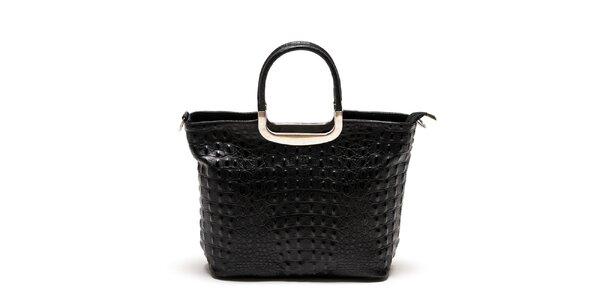 Dámska čierna kabelka z pravej kože Luisa Vannini
