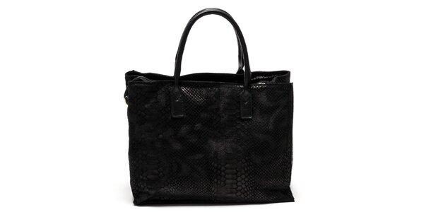 Dámska čierna kabelka so vzorom hadej kože Luisa Vannini