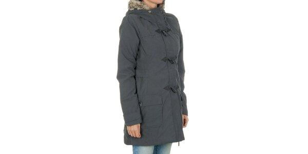 Dámsky šedý kabát s kožúškom Bench