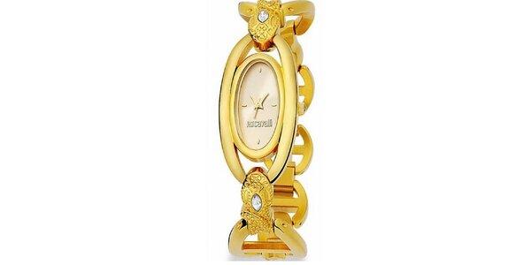 Dámske náramkové hodinky Just Cavalli s oválnym ciferníkom v zlatej farbe