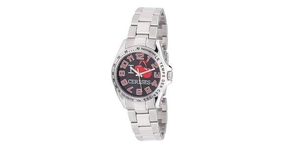 Dámske okrúhle analogové hodinky s čerešničkami Le Temps des Cerises