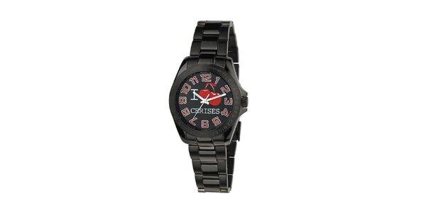 Dámske čierne hodinky Le Temps des Cerises