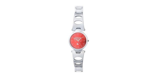 Dámske okrúhle hodinky s oranžovým ciferníkom Le Temps des Cerises