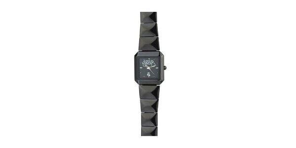 Dámske čierne hranaté hodinky Le Temps des Cerises