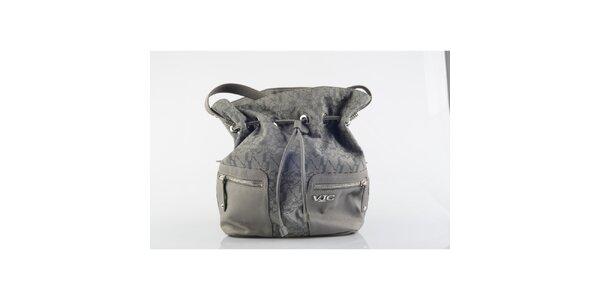 Dámska šedá vzorovaná kabelka Versace