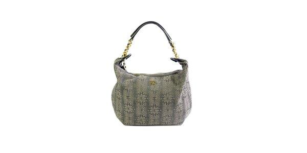 Dámska šedá kabelka so vzorom a zlatými detailmi Just Cavalli