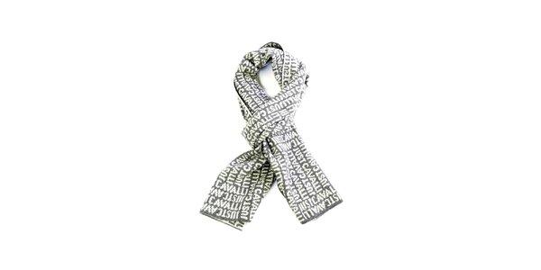 Svetlo šedý vlnený šál s nápisom Just Cavalli