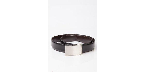Pánsky obojstranný opasok s kovovou striebornou sponou Calvin Klein