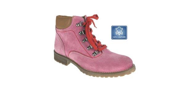 Dámske ružové šnúrovacie topánky Beppi