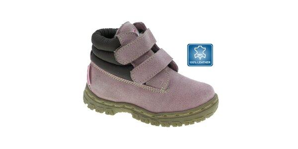 Detské svetlo fialové členkové topánky Beppi